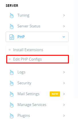 Edit php configs